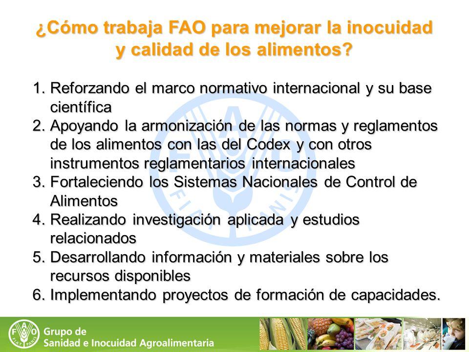 1.Reforzando el marco normativo internacional y su base científica 2.Apoyando la armonización de las normas y reglamentos de los alimentos con las del