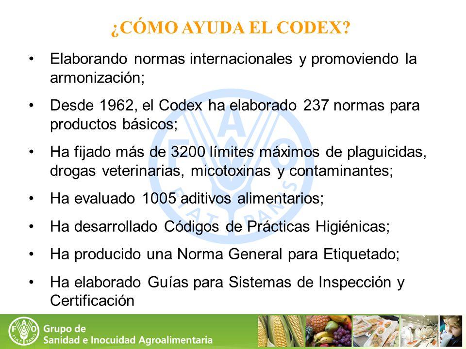 ¿CÓMO AYUDA EL CODEX? Elaborando normas internacionales y promoviendo la armonización; Desde 1962, el Codex ha elaborado 237 normas para productos bás