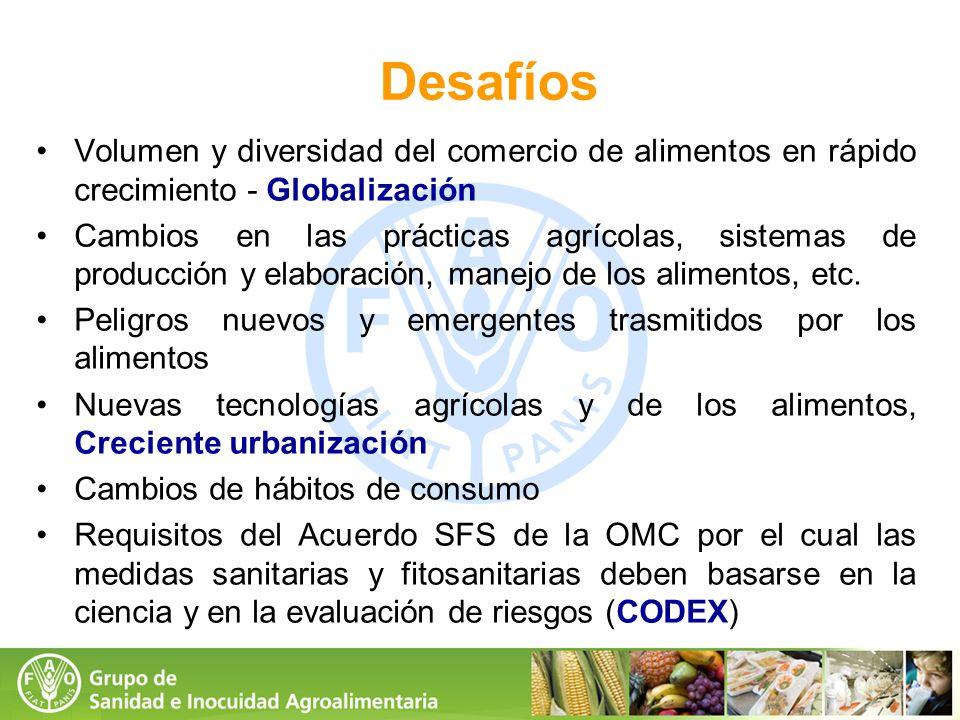 Desafíos Volumen y diversidad del comercio de alimentos en rápido crecimiento - Globalización Cambios en las prácticas agrícolas, sistemas de producci