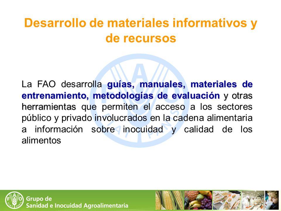 Desarrollo de materiales informativos y de recursos guías, manuales, materiales de entrenamiento, metodologías de evaluación y otras herramientas La F