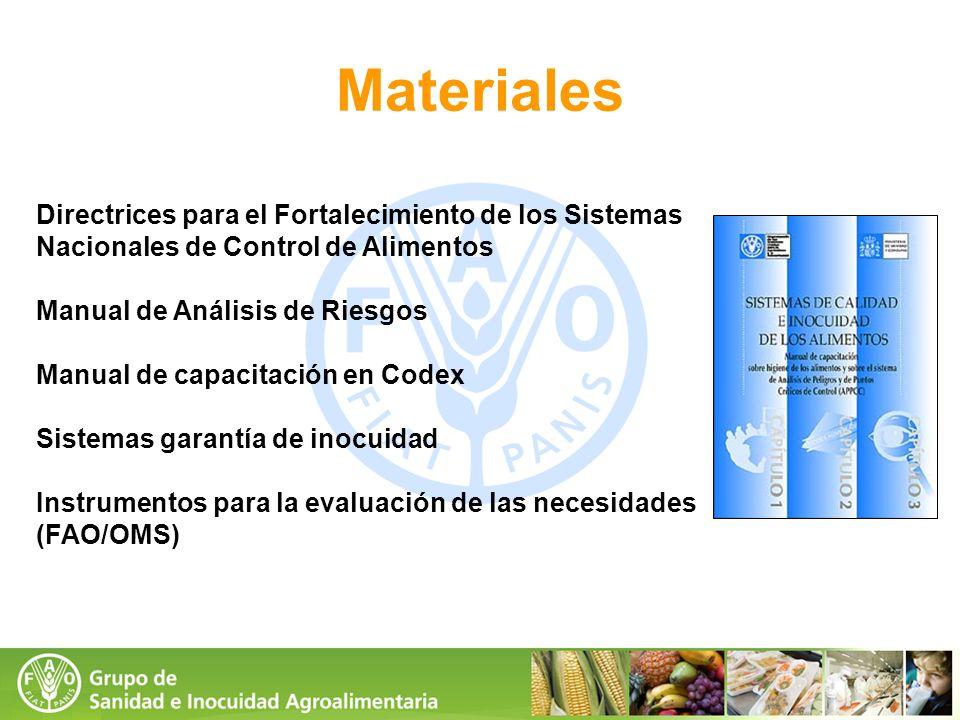 Materiales Directrices para el Fortalecimiento de los Sistemas Nacionales de Control de Alimentos Manual de Análisis de Riesgos Manual de capacitación