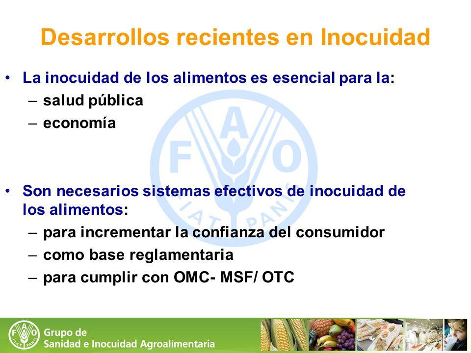 Desarrollos recientes en Inocuidad La inocuidad de los alimentos es esencial para la: –salud pública –economía Son necesarios sistemas efectivos de in