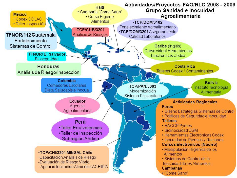 Actividades/Proyectos FAO/RLC 2008 - 2009 Grupo Sanidad e Inocuidad Agroalimentaria Caribe (Inglés) Curso virtual Herramientas Electrónicas Codex Hait