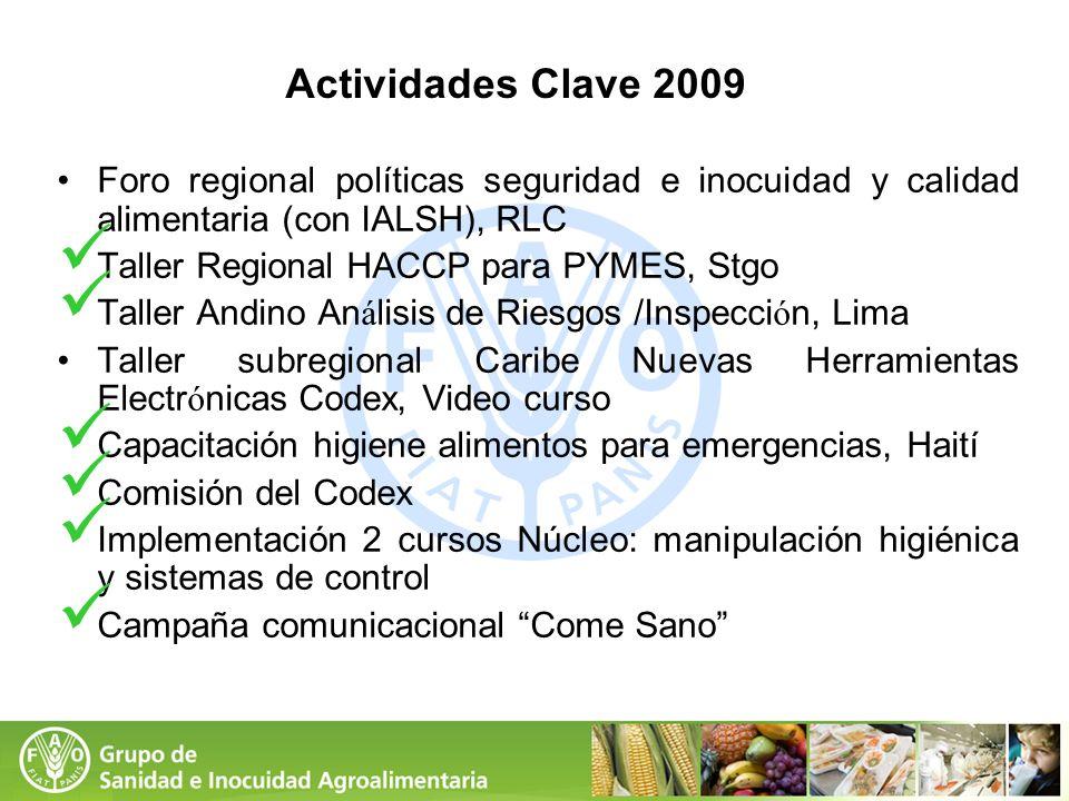 Actividades Clave 2009 Foro regional políticas seguridad e inocuidad y calidad alimentaria (con IALSH), RLC Taller Regional HACCP para PYMES, Stgo Tal