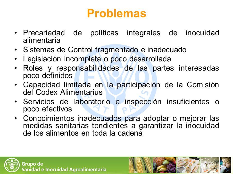 Problemas Precariedad de políticas integrales de inocuidad alimentaria Sistemas de Control fragmentado e inadecuado Legislación incompleta o poco desa