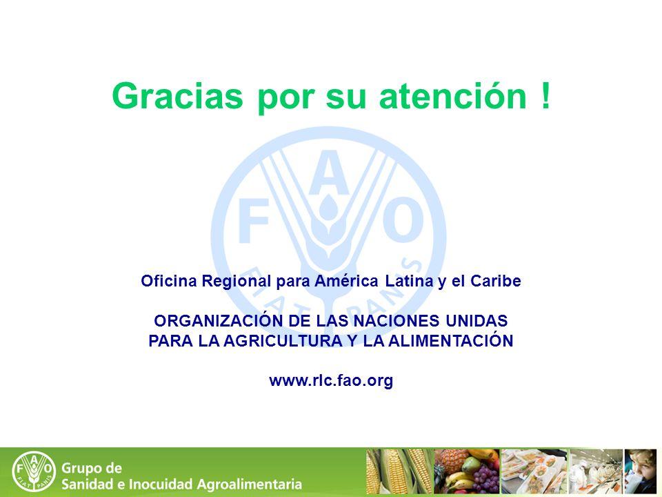 Gracias por su atención ! Oficina Regional para América Latina y el Caribe ORGANIZACIÓN DE LAS NACIONES UNIDAS PARA LA AGRICULTURA Y LA ALIMENTACIÓN w