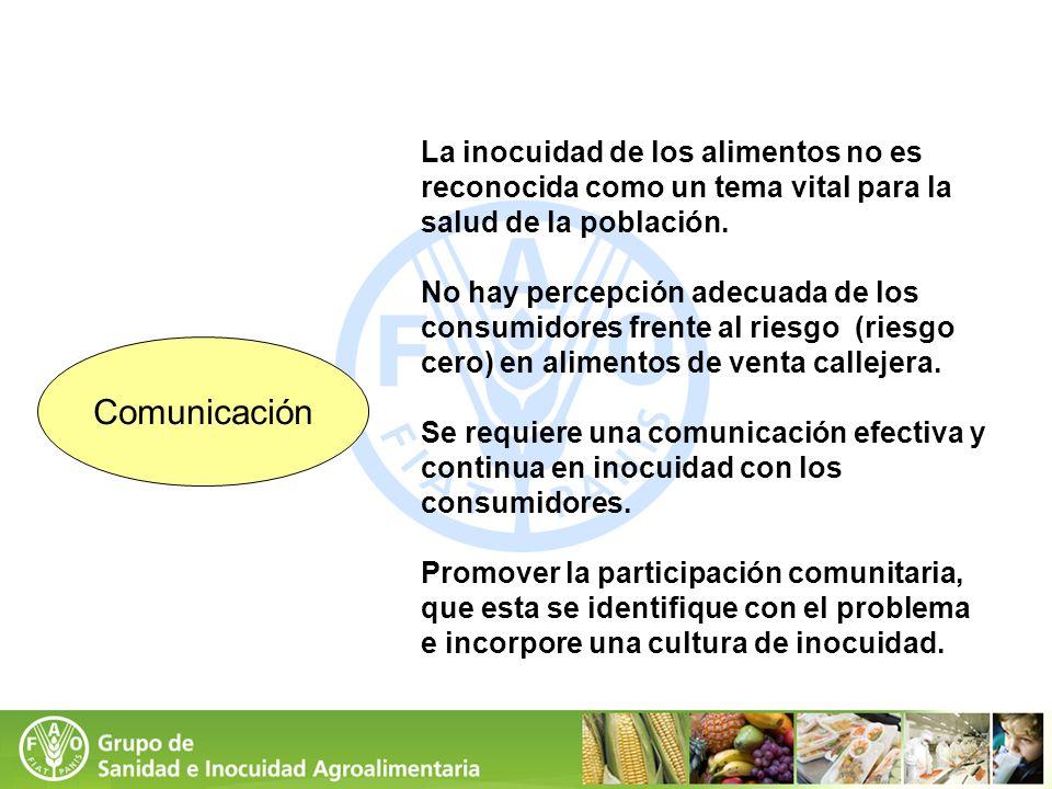 La inocuidad de los alimentos no es reconocida como un tema vital para la salud de la población. No hay percepción adecuada de los consumidores frente