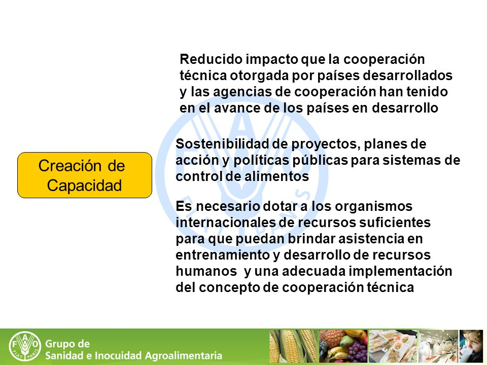 Creación de Capacidad Reducido impacto que la cooperación técnica otorgada por países desarrollados y las agencias de cooperación han tenido en el ava