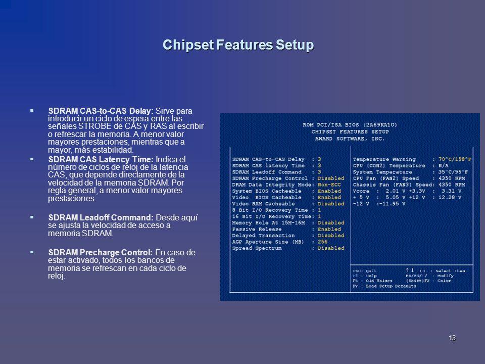 13 Chipset Features Setup SDRAM CAS-to-CAS Delay: Sirve para introducir un ciclo de espera entre las señales STROBE de CAS y RAS al escribir o refresc