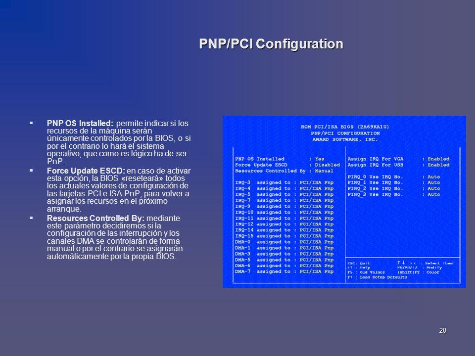 20 PNP OS Installed: permite indicar si los recursos de la máquina serán únicamente controlados por la BIOS, o si por el contrario lo hará el sistema