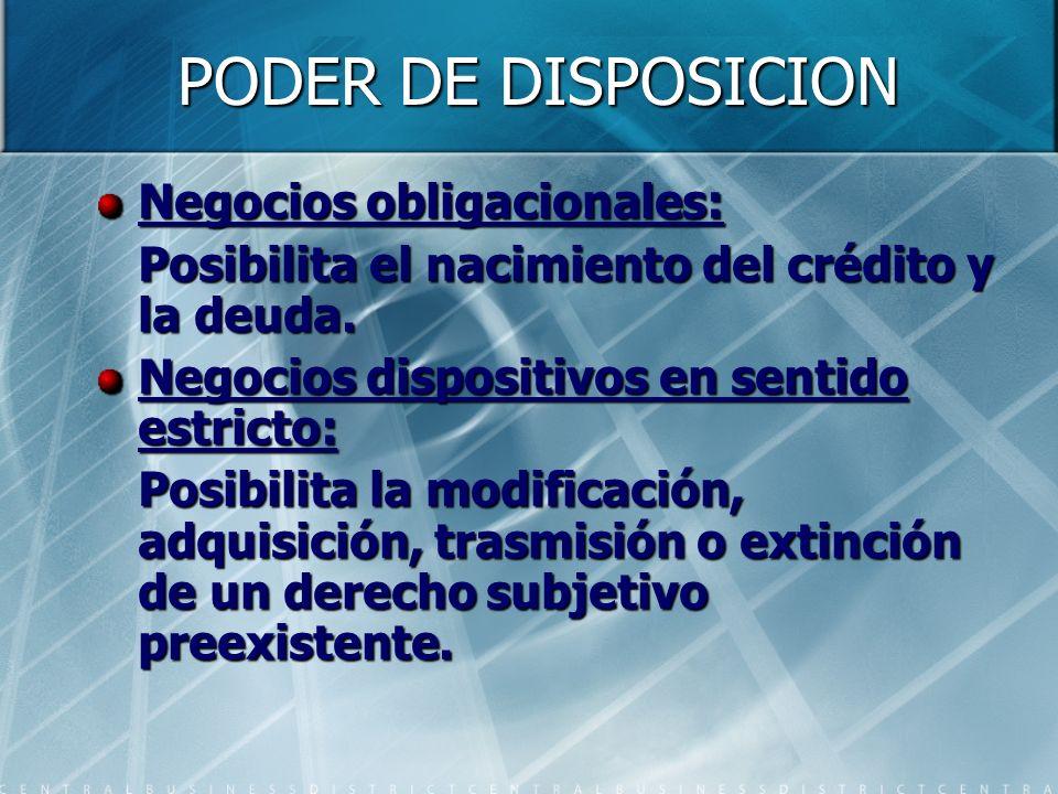 PODER DE DISPOSICION Negocios obligacionales: Posibilita el nacimiento del crédito y la deuda. Negocios dispositivos en sentido estricto: Posibilita l