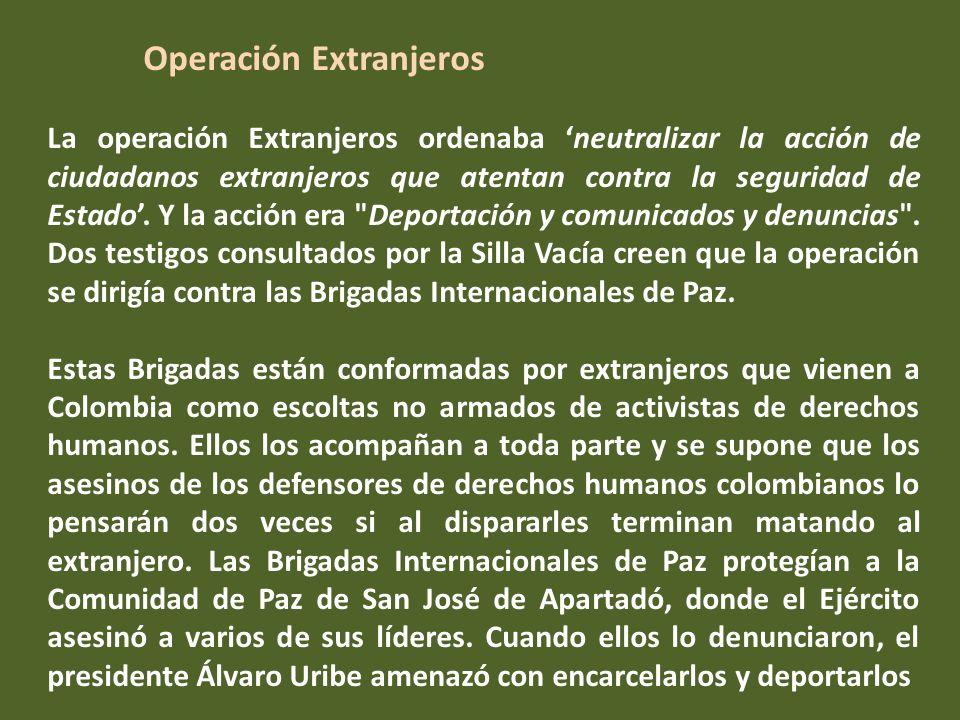 las actividades ilícitas de funcionario de Redepaz para obtener prebendas económicas por obtención de asilo político.