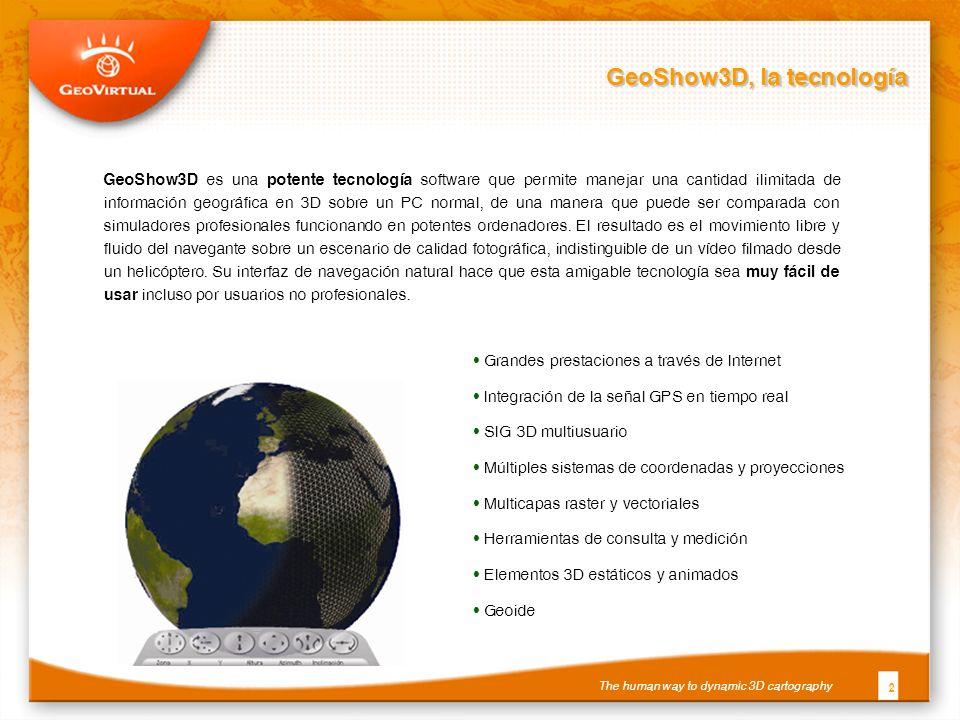 GeoShow3D, la tecnología 2 GeoShow3D es una potente tecnología software que permite manejar una cantidad ilimitada de información geográfica en 3D sobre un PC normal, de una manera que puede ser comparada con simuladores profesionales funcionando en potentes ordenadores.