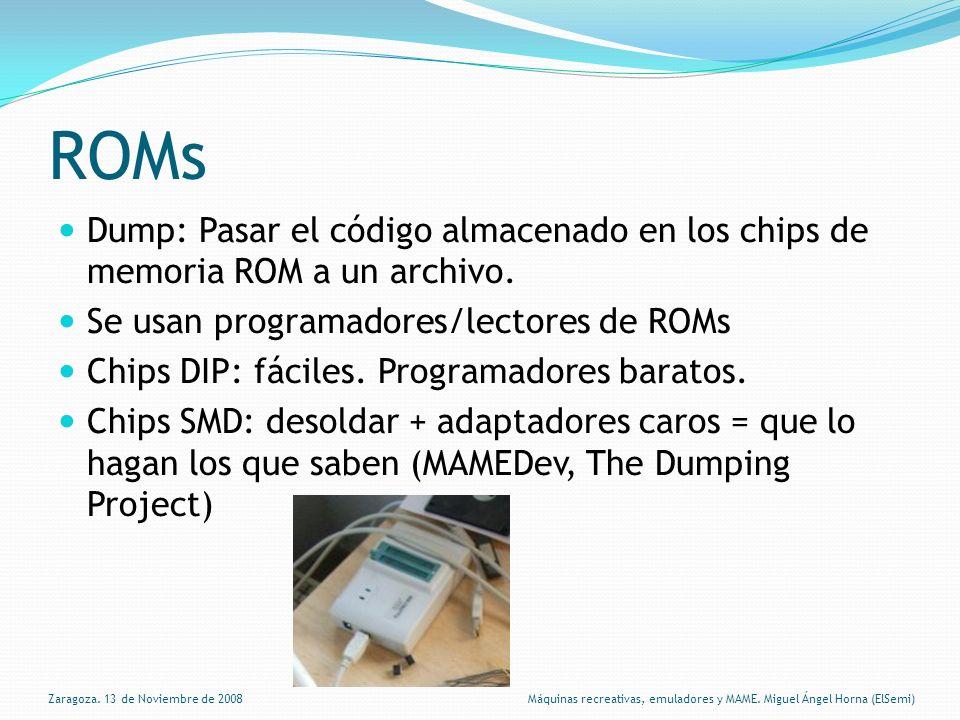 ROMs Dump: Pasar el código almacenado en los chips de memoria ROM a un archivo.
