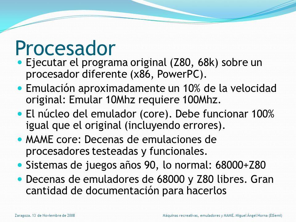 Procesador Ejecutar el programa original (Z80, 68k) sobre un procesador diferente (x86, PowerPC).