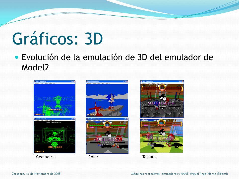 Gráficos: 3D Evolución de la emulación de 3D del emulador de Model2 GeometríaColorTexturas Zaragoza.