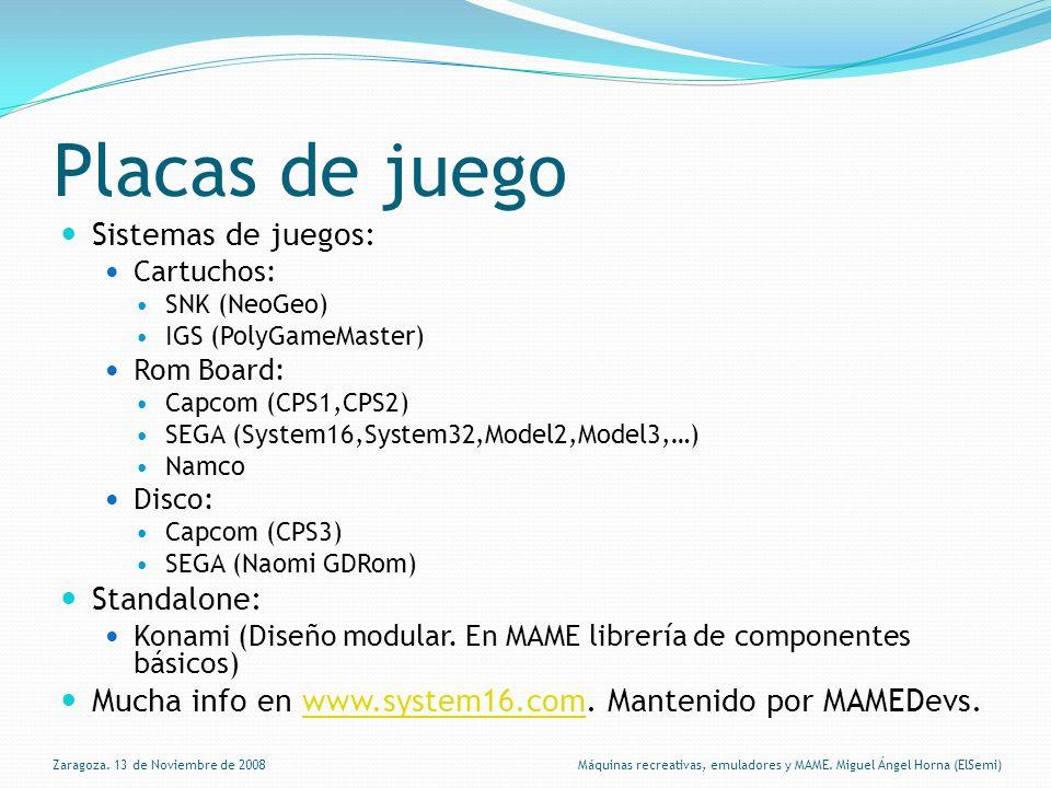 Placas de juego Sistemas de juegos: Cartuchos: SNK (NeoGeo) IGS (PolyGameMaster) Rom Board: Capcom (CPS1,CPS2) SEGA (System16,System32,Model2,Model3,…) Namco Disco: Capcom (CPS3) SEGA (Naomi GDRom) Standalone: Konami (Diseño modular.