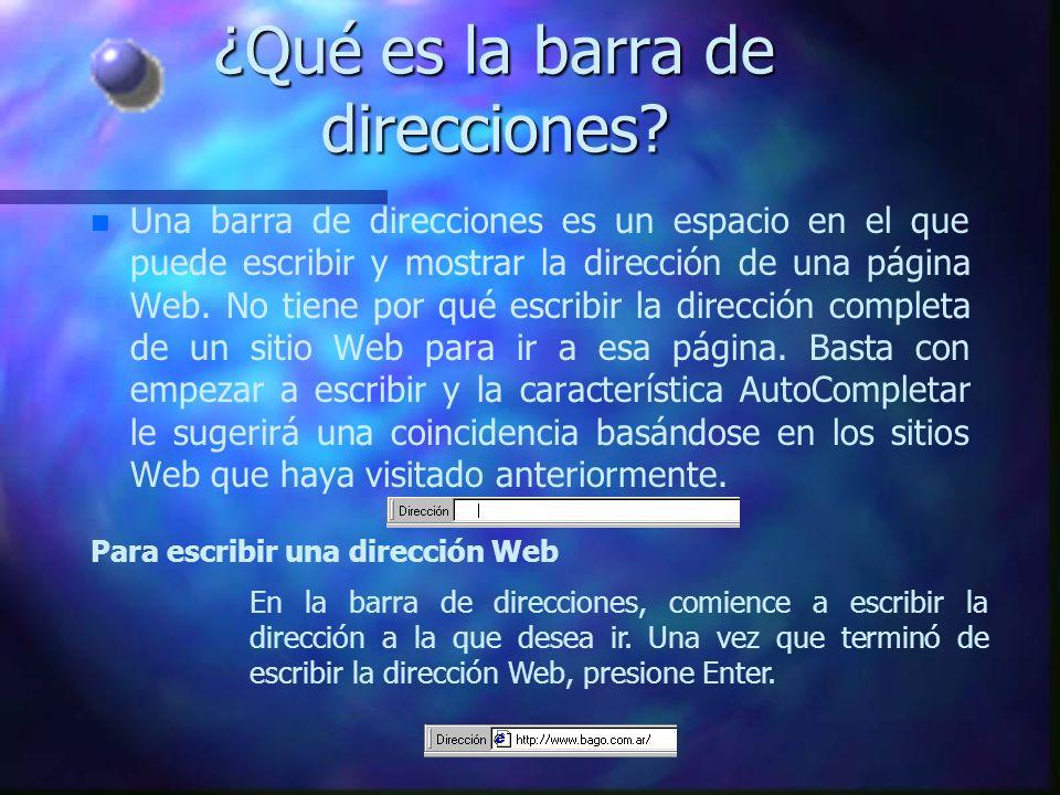 Barra de direcciones Retroceder una página Progreso de búsqueda Tema de búsqueda Elementos de Internet Explorer
