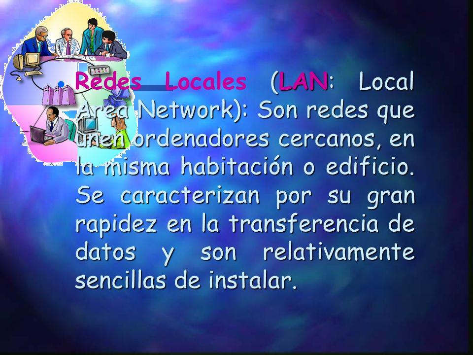 Hay dos tipos de redes: Redes Locales (LAN: (LAN: Local Area Network). Redes de Área Amplia (WAN: Wide Area Network)