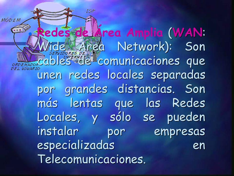 Redes Locales ( (( (LAN: Local Area Network): Son redes que unen ordenadores cercanos, en la misma habitación o edificio. Se caracterizan por su gran