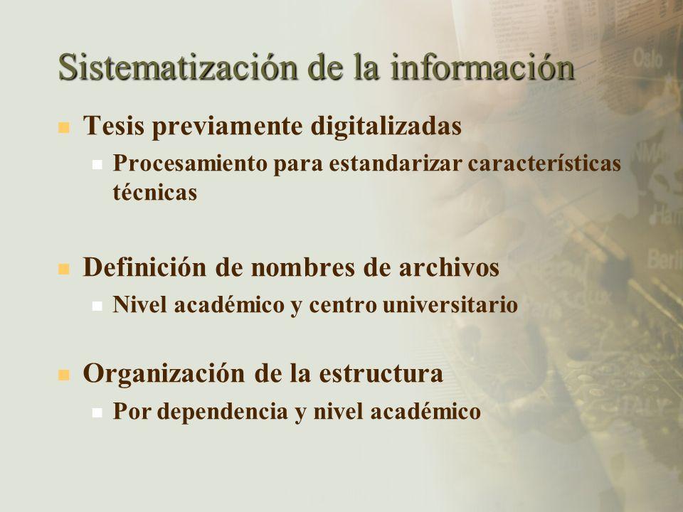 Sistematización de la información Tesis previamente digitalizadas Procesamiento para estandarizar características técnicas Definición de nombres de ar