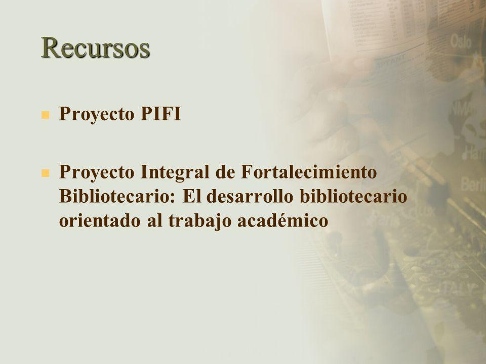 Recursos Proyecto PIFI Proyecto Integral de Fortalecimiento Bibliotecario: El desarrollo bibliotecario orientado al trabajo académico