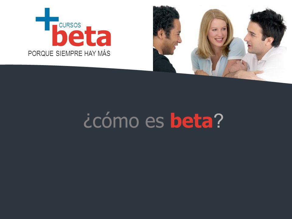 CURSOS PORQUE SIEMPRE HAY MÁS beta + ¿cómo es beta ?