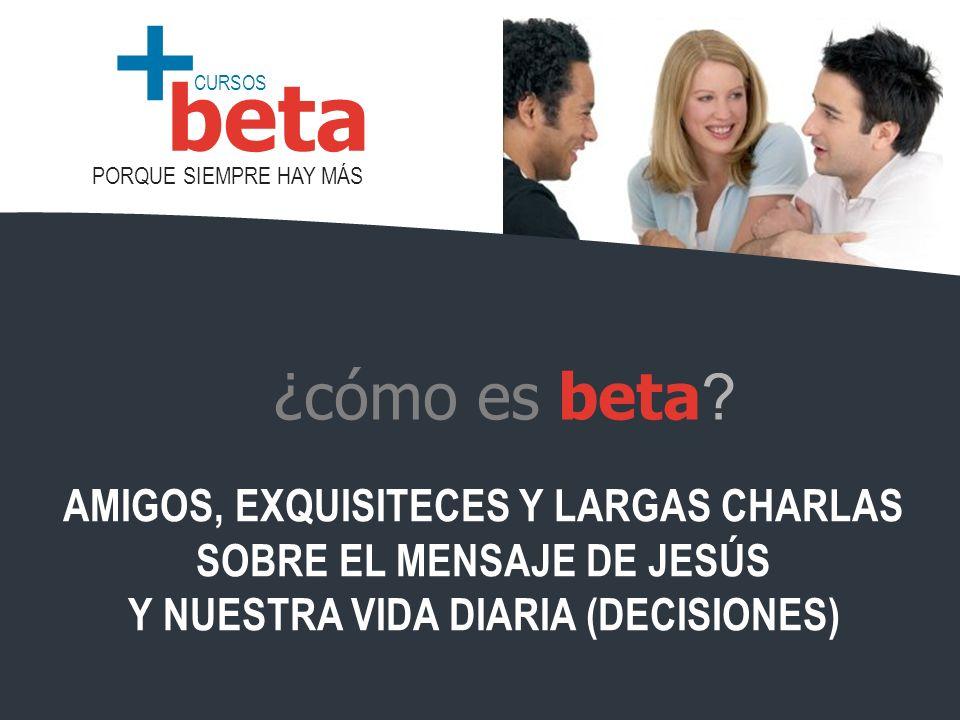 CURSOS PORQUE SIEMPRE HAY MÁS beta + ¿cómo es beta ? AMIGOS, EXQUISITECES Y LARGAS CHARLAS SOBRE EL MENSAJE DE JESÚS Y NUESTRA VIDA DIARIA (DECISIONES