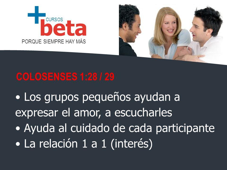 CURSOS PORQUE SIEMPRE HAY MÁS beta + Los grupos pequeños ayudan a expresar el amor, a escucharles Ayuda al cuidado de cada participante La relación 1