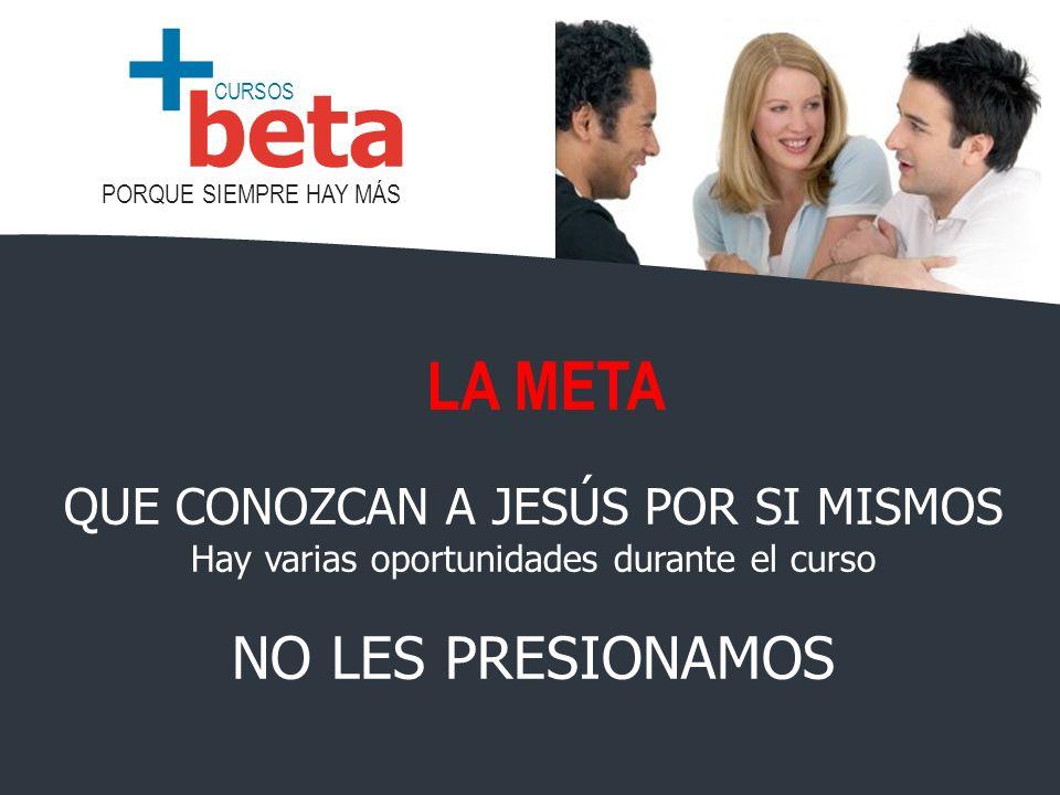 CURSOS PORQUE SIEMPRE HAY MÁS beta + QUE CONOZCAN A JESÚS POR SI MISMOS Hay varias oportunidades durante el curso NO LES PRESIONAMOS LA META