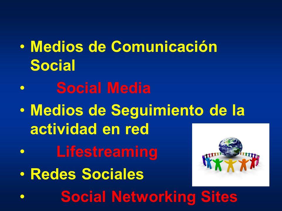 Medios de Comunicación Social Social Media Medios de Seguimiento de la actividad en red Lifestreaming Redes Sociales Social Networking Sites