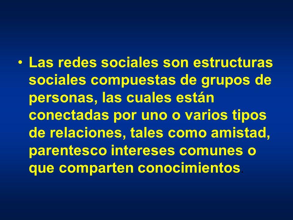 Las redes sociales son estructuras sociales compuestas de grupos de personas, las cuales están conectadas por uno o varios tipos de relaciones, tales como amistad, parentesco intereses comunes o que comparten conocimientos.
