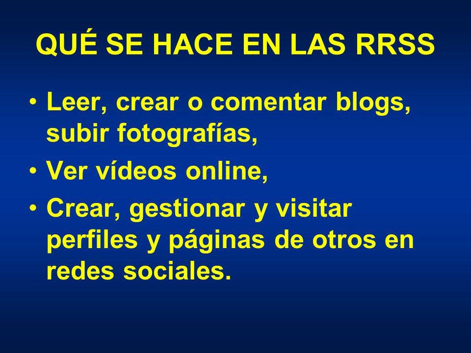 QUÉ SE HACE EN LAS RRSS Leer, crear o comentar blogs, subir fotografías, Ver vídeos online, Crear, gestionar y visitar perfiles y páginas de otros en redes sociales.