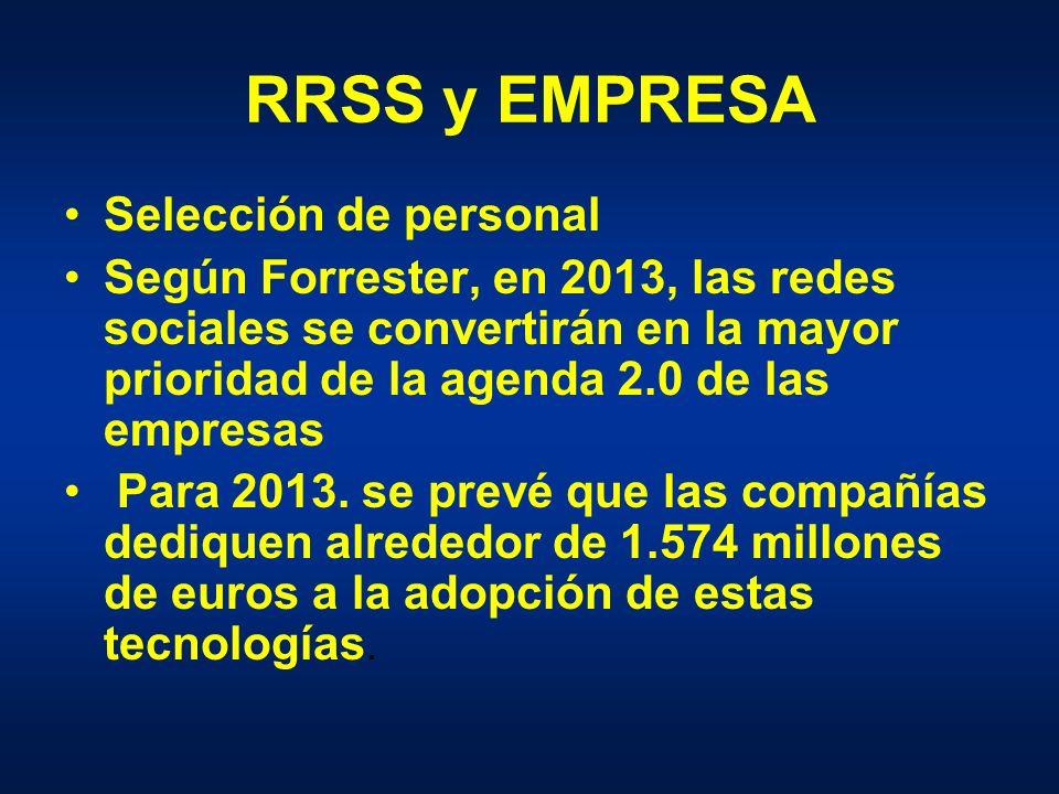 RRSS y EMPRESA Selección de personal Según Forrester, en 2013, las redes sociales se convertirán en la mayor prioridad de la agenda 2.0 de las empresas Para 2013.