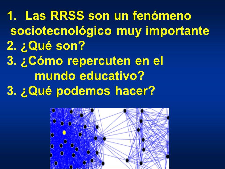 1.Las RRSS son un fenómeno sociotecnológico muy importante 2.