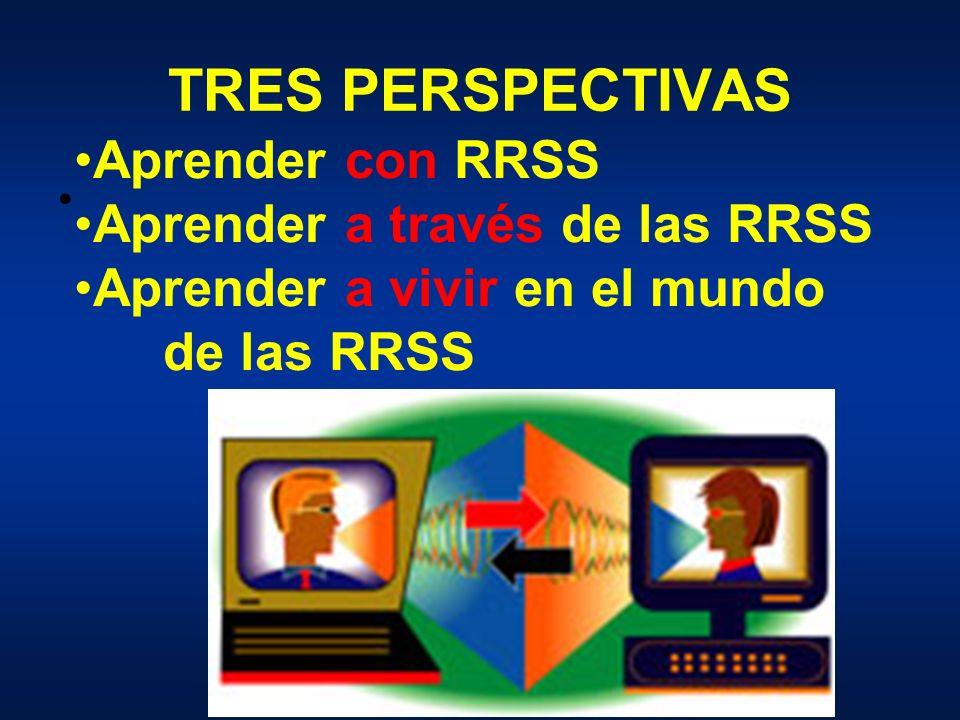 TRES PERSPECTIVAS Aprender con RRSS Aprender a través de las RRSS Aprender a vivir en el mundo de las RRSS