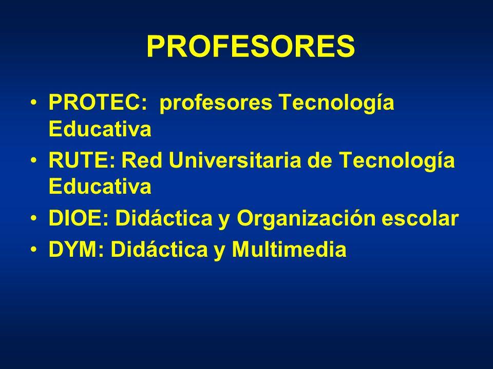 PROFESORES PROTEC: profesores Tecnología Educativa RUTE: Red Universitaria de Tecnología Educativa DIOE: Didáctica y Organización escolar DYM: Didáctica y Multimedia