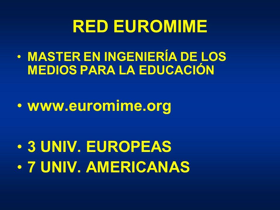 RED EUROMIME MASTER EN INGENIERÍA DE LOS MEDIOS PARA LA EDUCACIÓN www.euromime.org 3 UNIV.
