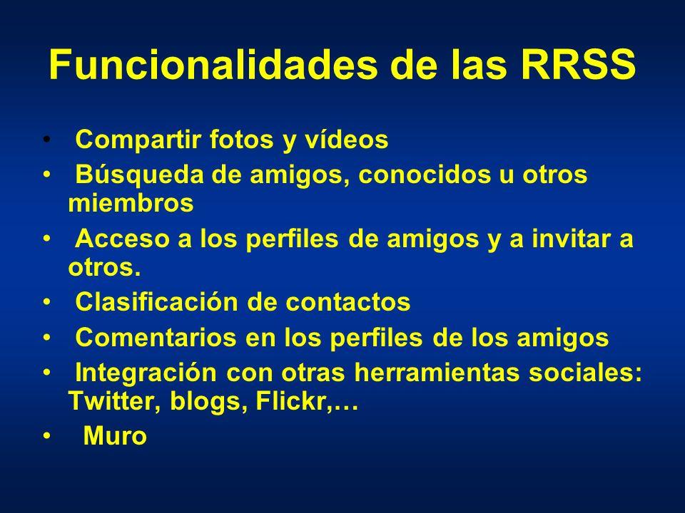 Funcionalidades de las RRSS Compartir fotos y vídeos Búsqueda de amigos, conocidos u otros miembros Acceso a los perfiles de amigos y a invitar a otros.