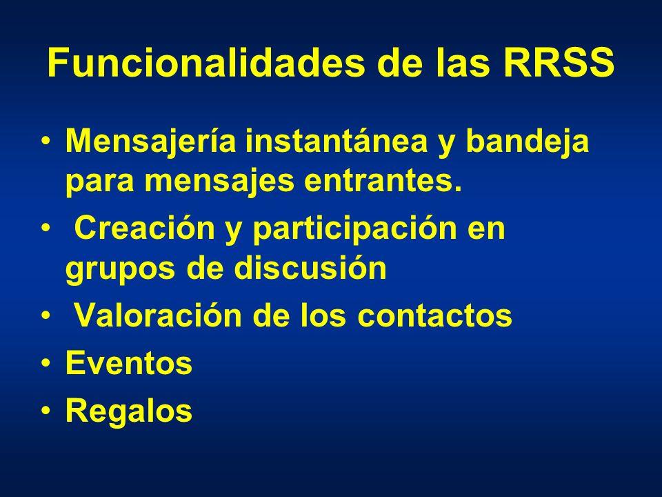 Funcionalidades de las RRSS Mensajería instantánea y bandeja para mensajes entrantes.