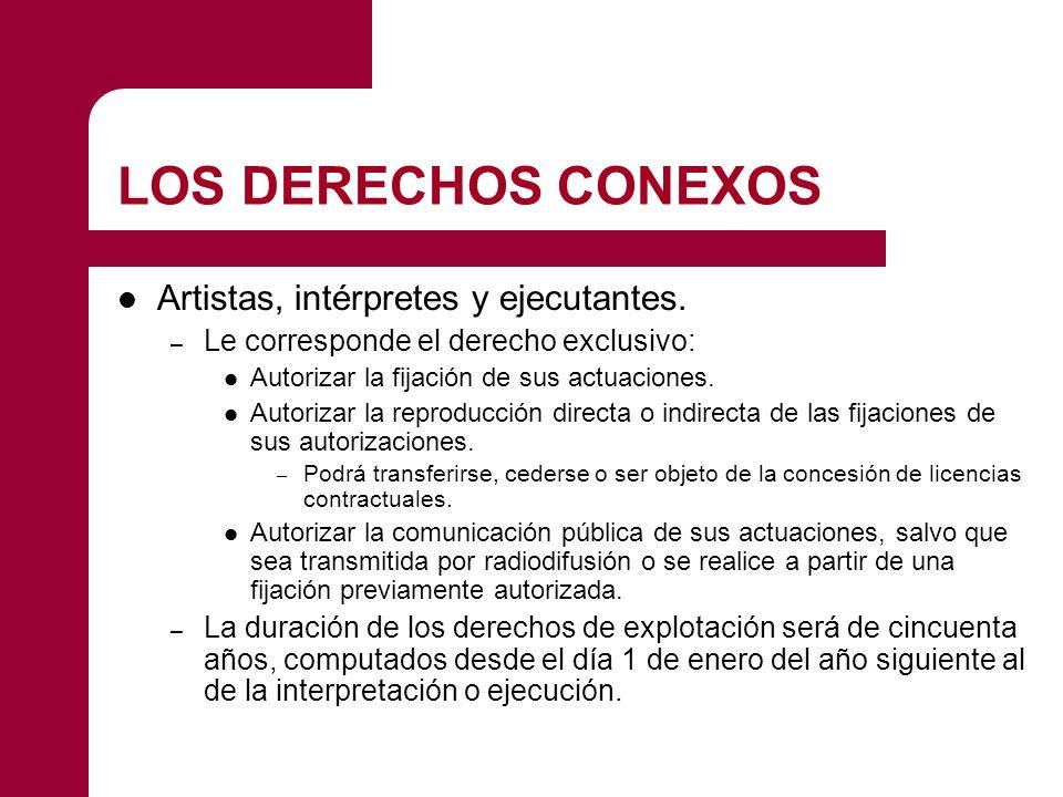 LOS DERECHOS CONEXOS Artistas, intérpretes y ejecutantes. – Le corresponde el derecho exclusivo: Autorizar la fijación de sus actuaciones. Autorizar l