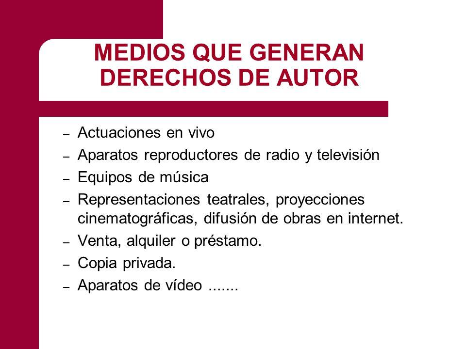 MEDIOS QUE GENERAN DERECHOS DE AUTOR – Actuaciones en vivo – Aparatos reproductores de radio y televisión – Equipos de música – Representaciones teatrales, proyecciones cinematográficas, difusión de obras en internet.