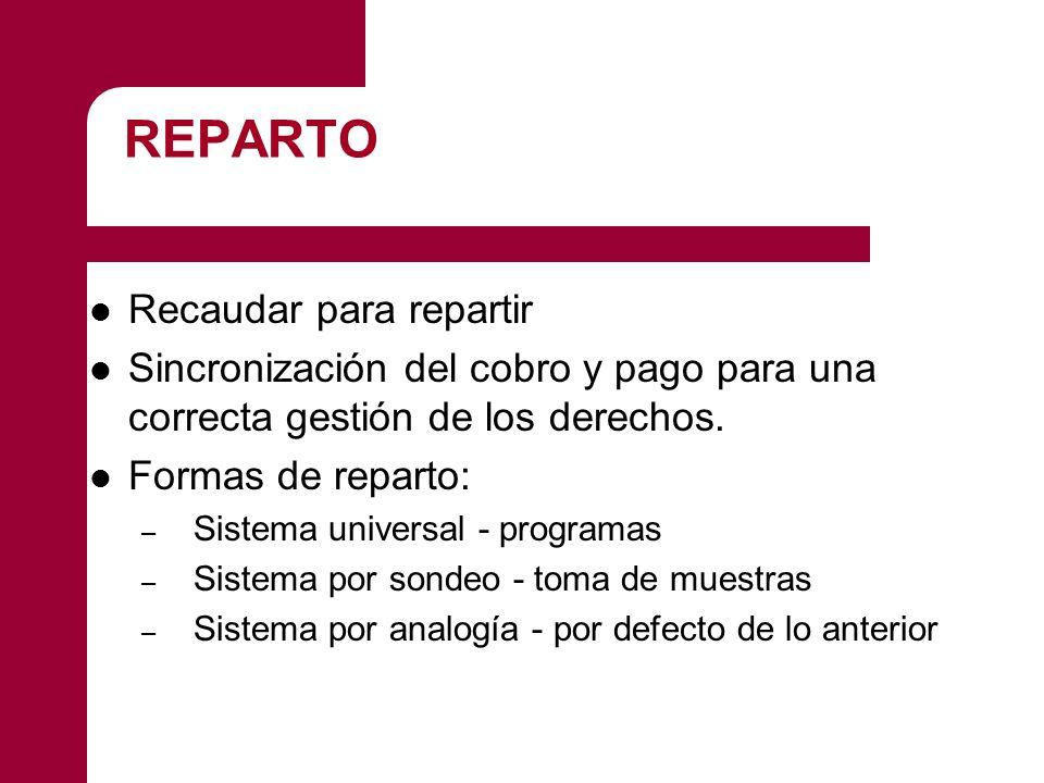 REPARTO Recaudar para repartir Sincronización del cobro y pago para una correcta gestión de los derechos. Formas de reparto: – Sistema universal - pro