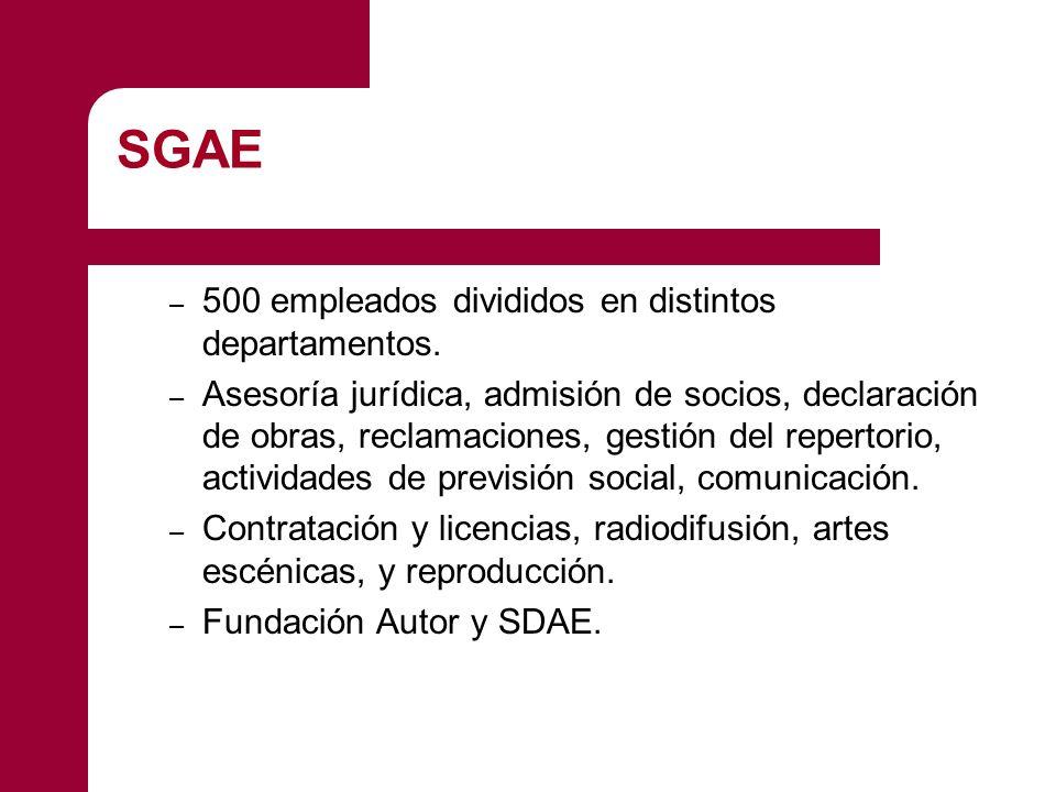 SGAE – 500 empleados divididos en distintos departamentos. – Asesoría jurídica, admisión de socios, declaración de obras, reclamaciones, gestión del r