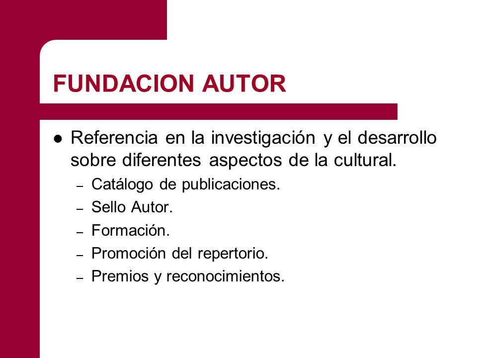FUNDACION AUTOR Referencia en la investigación y el desarrollo sobre diferentes aspectos de la cultural. – Catálogo de publicaciones. – Sello Autor. –