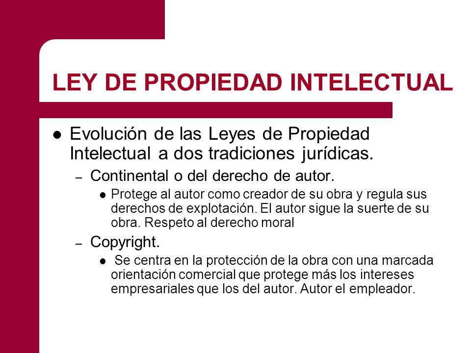 LEY DE PROPIEDAD INTELECTUAL Evolución de las Leyes de Propiedad Intelectual a dos tradiciones jurídicas. – Continental o del derecho de autor. Proteg