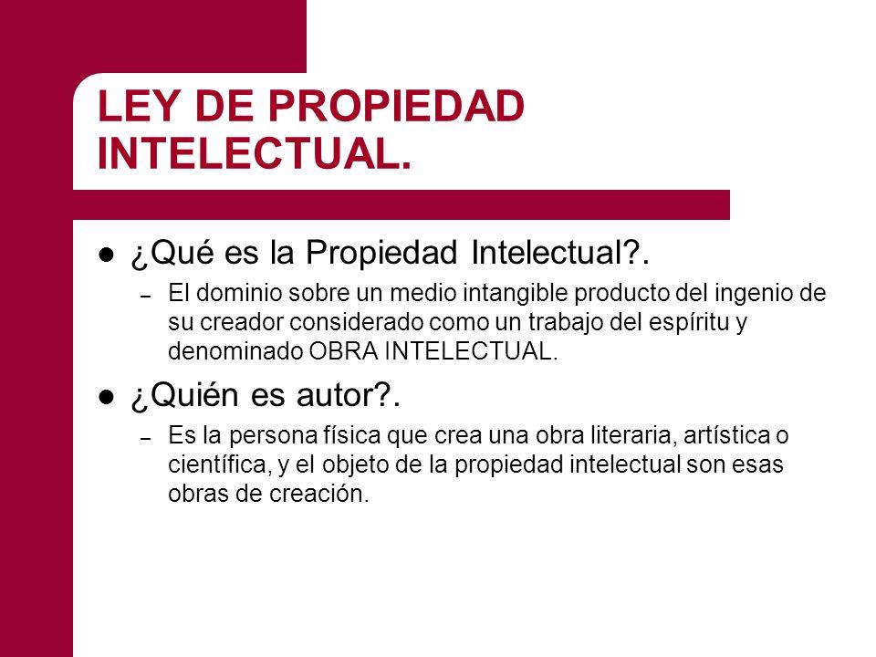 LEY DE PROPIEDAD INTELECTUAL. ¿Qué es la Propiedad Intelectual?. – El dominio sobre un medio intangible producto del ingenio de su creador considerado