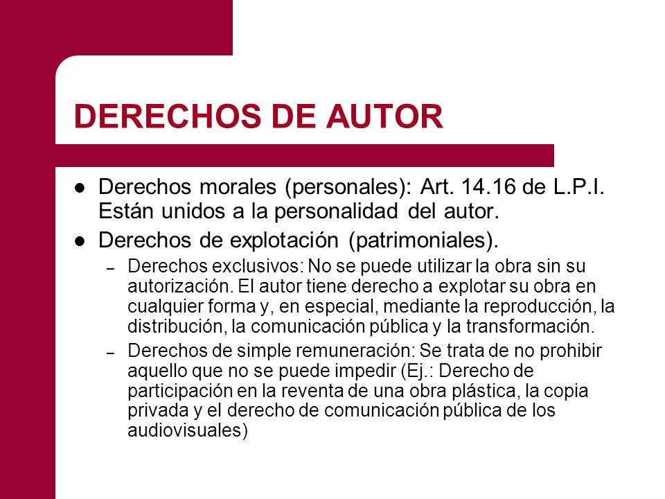 DERECHOS DE AUTOR Derechos morales (personales): Art.