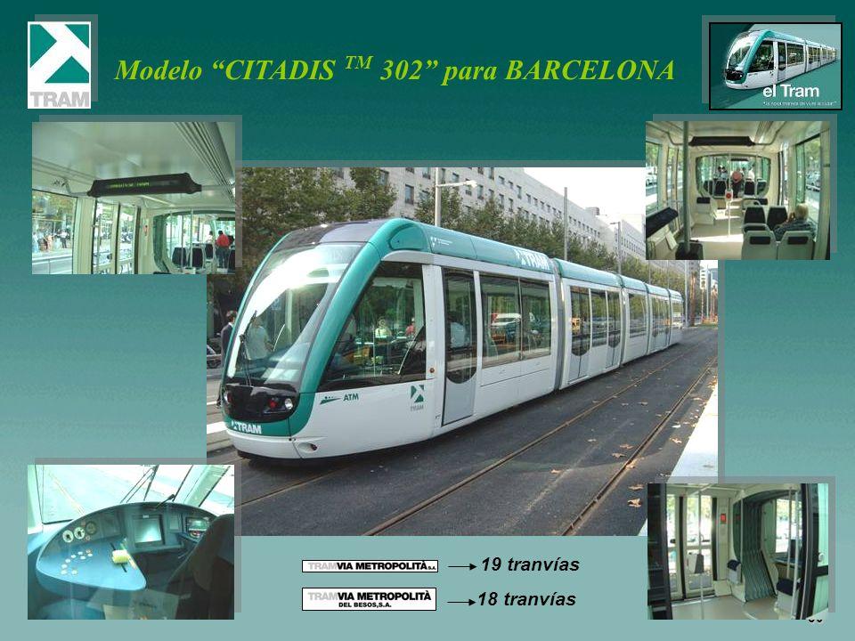 39 Modelo CITADIS TM 302 para BARCELONA 19 tranvías 18 tranvías