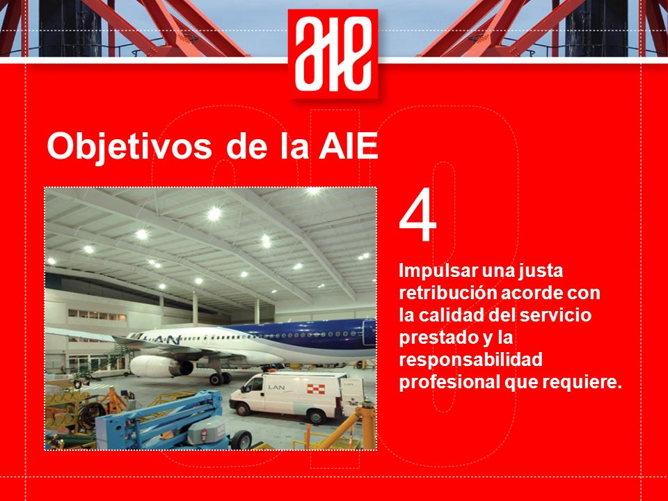 Objetivos de la AIE Impulsar una justa retribución acorde con la calidad del servicio prestado y la responsabilidad profesional que requiere.